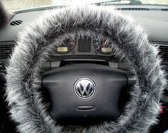 Fuzzy Steering Wheel Cover, Car accesories, Grey Fuzzy Wheel Cover, Car Gift, Black and Grey Fuzzy Wheel Cover