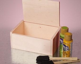 "NEW Hinged Top Wood Box Unfinished Laminated Pine Wood ID. 6"" x 4"" x 2-1/2"" depth hidden dowl hinge"