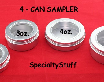 4 NEW 1 each - 2oz, 3oz, 4oz & 6oz. Aluminum Empty Screw Top Tin Can With Clear Plastic Display Window Crafts Sampler