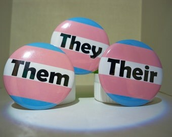 BOLD Trans Flag Pronoun Button Set (They Them Their)
