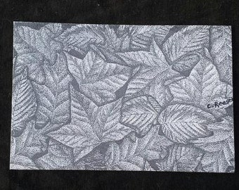 "Leaves - 4"" X 6"" Stippling art print on cardstock."