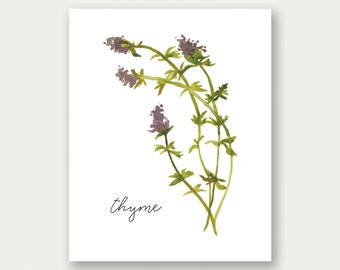 SALE Kitchen Wall Art, Herb Print, Thyme Wall Art, Kitchen Print, KItchen Poster, Thyme Printable, Kitchen Wall Decor, Watercolor Herb Print