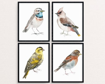 Watercolor Bird Painting, Bird Painting Set, Bird Print, Bird Wall Art, Bird Printable, Birds Nursery Decor, Bird Print Set, Bird Artwork