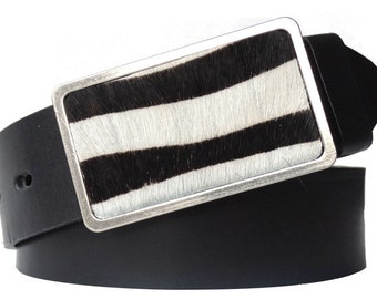 Black zebra-buckle leather belt