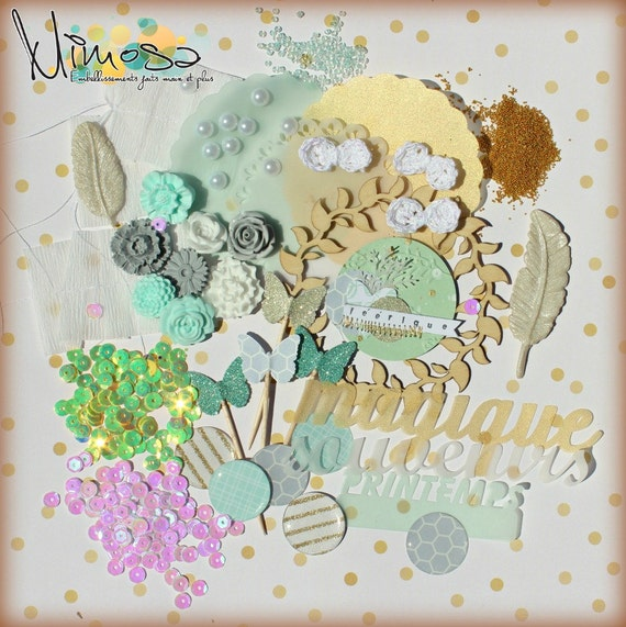 Scrapbooking and card making embellishment kit, Invitations, Handmade, Mint, Gold