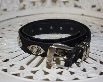 Vintage 80s Genuine Leather Belt with Detailed Silver Studs