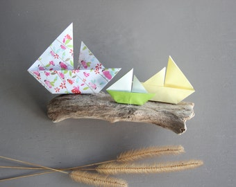Driftwood Origami decoration boats fisher hut decoration child gift collection sailboat dad ocean sea protect ornement