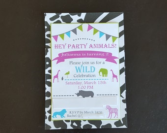 Zebra Invitation, Zebra and Hot Pink Invitation, Animal Birthday Invitation, Zebra Print Birthday, Hot Pink & Zebra Birthday