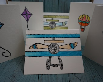 SET OF 6 - Biplane, Kite, Hot Air Balloon Hand Stamped Watercolor Greeting Cards