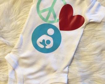 Peace Love and Breastfeeding bodysuit