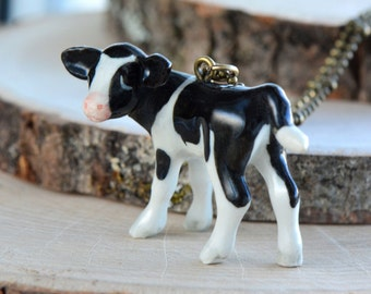 Hand Painted Porcelain Baby Cow Necklace, Antique Bronze Chain, Vintage Style Calf, Ceramic Animal Pendant & Chain (CA213)