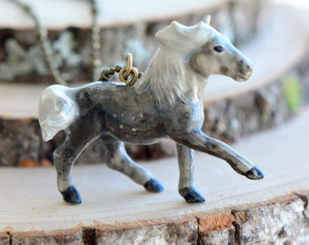 Hand Painted Porcelain Hill Pony Necklace, Antique Bronze Chain, Vintage Style Horse Colt, Ceramic Animal Pendant & Chain (CA039)