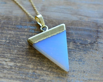 Triangle Opal Necklace - Pendant in 24K Plating w/ Stainless Steel Chain - Flag Gemstone Jewelry  (R0--)