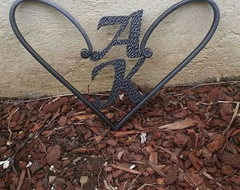 Forged & Welded Steel heart Custom Initials- Mother's Day - Birthday- New Couple- Anniversary-Engagement