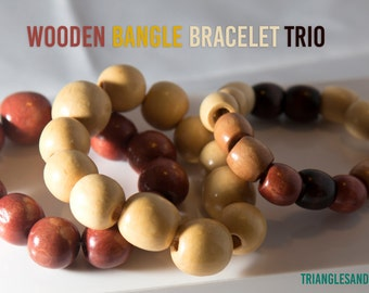 Wooden Bangle Bracelet Trio