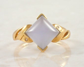 18K Yellow Gold Chalcedony Ring