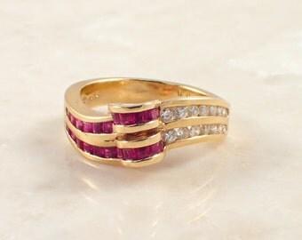 18K Yellow Gold Ruby and Diamond Band