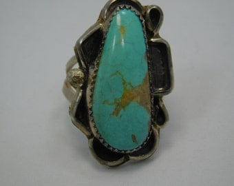 Large Sterling Turquoise Southwestern  Ring