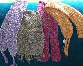 Hand-knit Spring Scarves