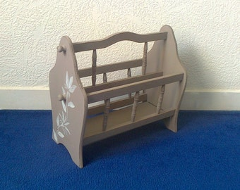 RESERVED Magazine rack bakeware rack newspaper books upcycled hand painted