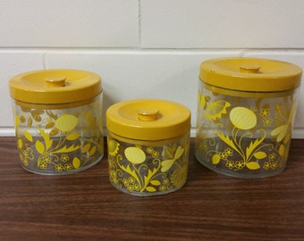 Vintage Mid Century Modern Retro Yellow Plastic Canisters Storage 60s
