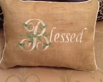 "Embroidered Pillow ""Blessed"""