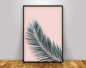 Palm Leaf Print, Tropical Leaf Print, Palm Leaf Art, Tropical Poster, Leaf Wall Art, Tropical print, pink leaf printable, Palm leaf poster