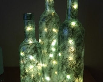 Painted bottles with lights- set of 3