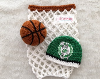 Baby Boston Celtics inspired Basketball Beanie Hat, Made to Order