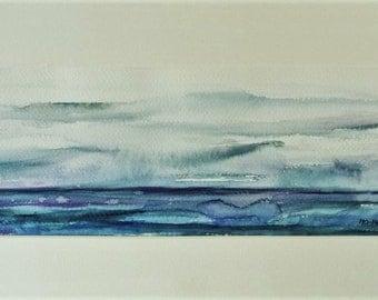 Small Watercolor, Watercolor Sea Landscape, Fine Wall Art, Watercolor, Watercolor, Minimal Horizontal Nature Watercolor Print, Blue Watercolor.