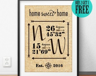 Home Sweet Home, Personalized, Housewarming Gift, Unique Gift, Burlap Print, GPS Coordinates, Sign, Longitude Latitude, New Apartment, CM48
