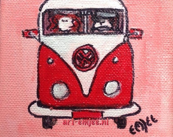 small painting, Volkswagen bus