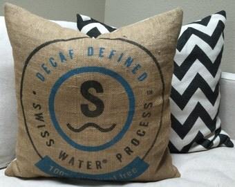 Upcycled Coffee Bag Pillow