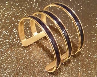 Black and Gold Open Cuff Bracelet