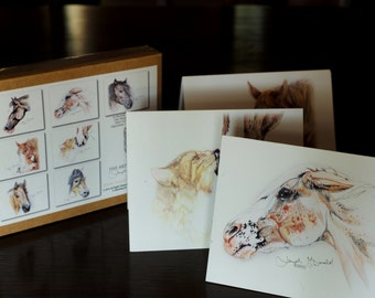 Original Equestrian Drawings Adorning Box of 14 with Envelopes, 3.5 X 5 inch Folded Blank Note Cards