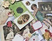 Early 1900s Clip Art 21 Piece Ephemera Decoupage Altered Art Victorian Scrap Stationery Supply - Post Cards Labels Ledger Stereoscope Stamps