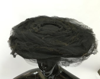 Vintage 1940s Marshall & Snellgrove London Black Mesh Wide Hat Fascinator