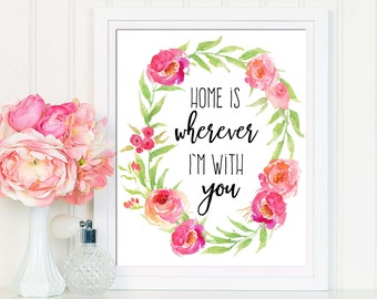 Home Printable, Home Print, Home Wall Art, Love Poster, Printable Quote, Home Is Wherever Im With You, Home Wall Art, House Warming Gift
