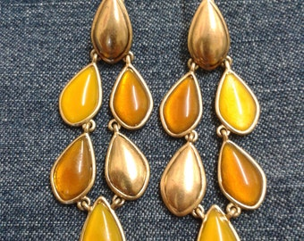 Vintage Liz Claiborne Amber and Gold Tone Chandelier Earrings