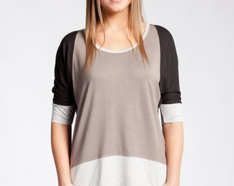 Women's Knit Jersey Top Tee  #3012 Black/Taupe