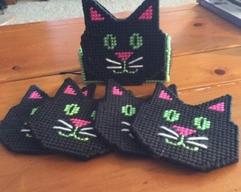 Kitten coasters with holder