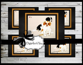 Blank Card/Card/Dog/Japanese/Art/Dogs/Puppies/Antique/Cute/Adorable/Clip Art/Unusual/Digital Download/Vintage Art/Supplies/Inchies/Dominoes