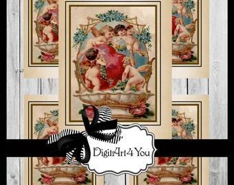 Greeting Card/Cards/Hearts/Cupid/Angels/Valentine/Valentine's Card/Valentine's Day/Flowers/ Antique/Retro//DIY Card/Vintage Collage/Unusual