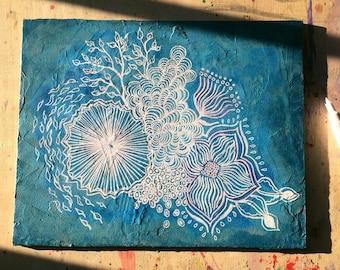 "Botanical abstract illustration ""Underwater"" mixed media original painting"