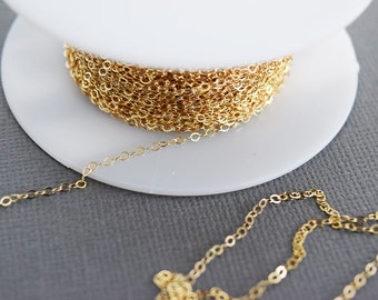 Gold Fill 1.4mm Cable Chain, Bulk Gold Fill Chain, Chain by the Foot, Gold Filled Chain, 14k Gold Fill, Findings, Supplies, GF601