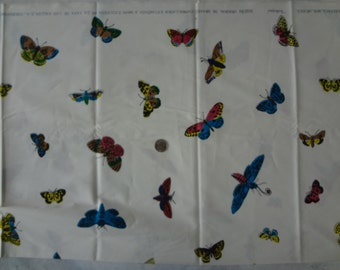Vintage Mid century Diseno original DeBrooke cadwallader -novelty butterfly print, Cotton, mexico 38 wide x 120 long / 3 yds Stain on folds