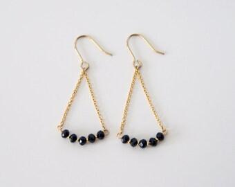 Black beads, simple, minimal dangle earrings