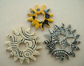 3 handmade steampunk gearing in enamelled ceramic