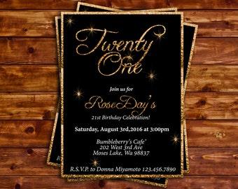 Invitation, Birthday,black, gold, glitter, sparkle, digital flie, printed invitation