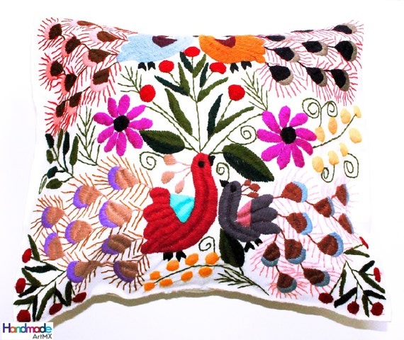 Hand Embroidered White Cushion / Pillow Cover / Mexican